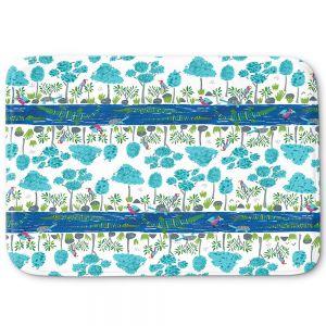 Decorative Bathroom Mats | Metka Hiti - Crocodile Blue Stripes | Nature reptile pattern graphic river