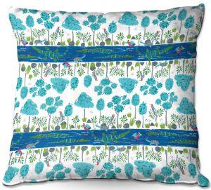 Throw Pillows Decorative Artistic   Metka Hiti - Crocodile Blue Stripes   Nature reptile pattern graphic river