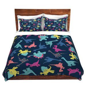 Artistic Duvet Covers and Shams Bedding | Metka Hiti - Dinosaur Multi | Pattern colors childrens stegosaurus t-rex