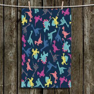 Unique Hanging Tea Towels | Metka Hiti - Dinosaur Multi | Pattern colors childrens stegosaurus t-rex