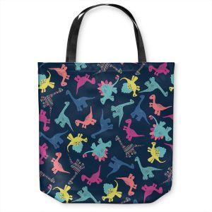 Unique Shoulder Bag Tote Bags   Metka Hiti - Dinosaur Multi   Pattern colors childrens stegosaurus t-rex