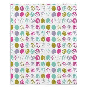 Decorative Fleece Throw Blankets | Metka Hiti - Dots Violet Magenta