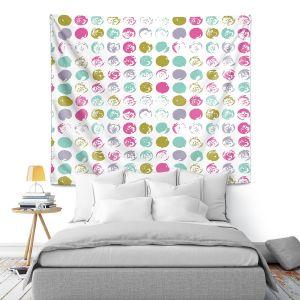 Artistic Wall Tapestry   Metka Hiti - Dots Violet Magenta