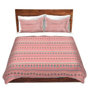 Artistic Duvet Covers and Shams Bedding | Metka Hiti - Dreamy Lines Pink