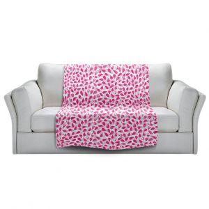 Artistic Sherpa Pile Blankets   Metka Hiti - Drops of Jupiter Pink   Pattern abstract dots circle