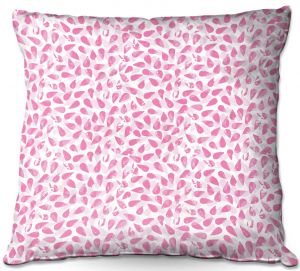 Decorative Outdoor Patio Pillow Cushion | Metka Hiti - Drops of Jupiter Pink | Pattern abstract dots circle