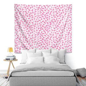 Artistic Wall Tapestry | Metka Hiti - Drops of Jupiter Pink | Pattern abstract dots circle