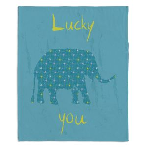 Decorative Fleece Throw Blankets | Metka Hiti - Elephant Lucky You