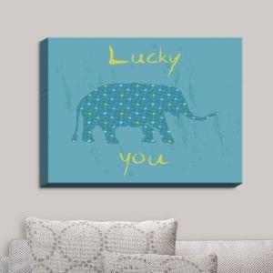 Decorative Canvas Wall Art | Metka Hiti - Elephant Lucky You | Elephant Animals Cute Sayings