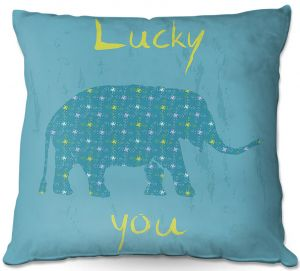 Decorative Outdoor Patio Pillow Cushion | Metka Hiti - Elephant Lucky You