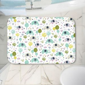 Decorative Bathroom Mats | Metka Hiti - Elephants | Wild Animals Africa Pattern