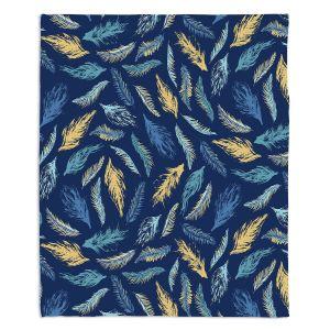 Decorative Fleece Throw Blankets | Metka Hiti - Feathers | bird feather pattern