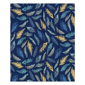 Decorative Wood Plank Wall Art | Metka Hiti - Feathers | bird feather pattern