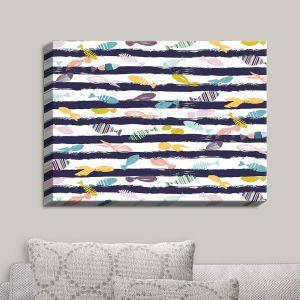 Decorative Canvas Wall Art | Metka Hiti - Fishy III | Lines Patterns Fish