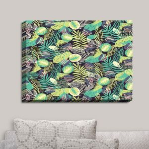 Decorative Canvas Wall Art | Metka Hiti - Flamingo Jungle | Patterns Leaves Jungle Style