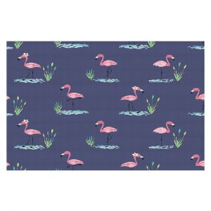 Decorative Area Rug 4 x 6 Ft from DiaNoche Designs by Metka Hiti - Flamingo II