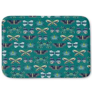 Decorative Bathroom Mats | Metka Hiti - Flower Butterflies Green | Flowers Butterly