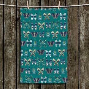 Unique Bathroom Towels | Metka Hiti - Flower Butterflies Green