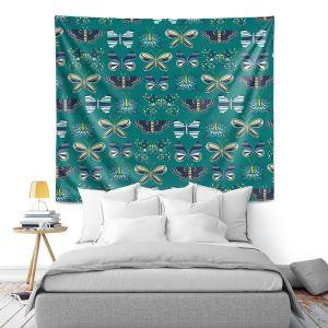Artistic Wall Tapestry   Metka Hiti - Flower Butterflies Green   Flowers Butterly