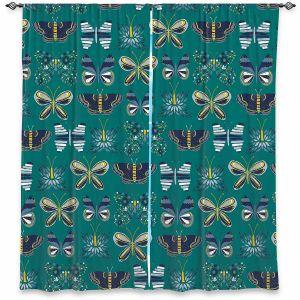 Decorative Window Treatments | Metka Hiti - Flower Butterflies Green | Flowers Butterly