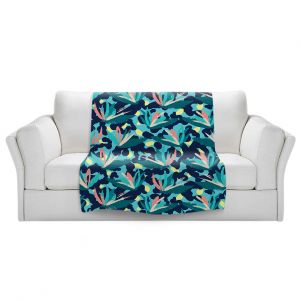 Artistic Sherpa Pile Blankets | Metka Hiti - Flower of Paradize | Floral Flowers pattern