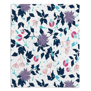 Decorative Fleece Throw Blankets | Metka Hiti - Flowers Splash | Pattern nature floral