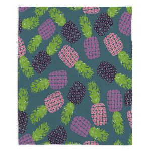 Decorative Fleece Throw Blankets | Metka Hiti - Fruit Pineapple | Nature food healthy pattern graphic