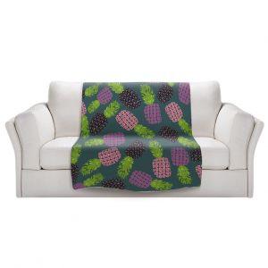 Artistic Sherpa Pile Blankets | Metka Hiti - Fruit Pineapple | Nature food healthy pattern graphic