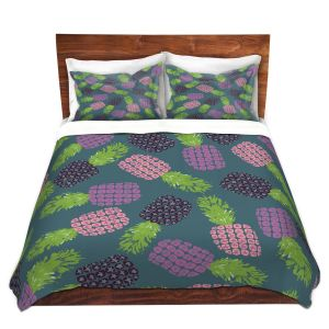 Artistic Duvet Covers and Shams Bedding | Metka Hiti - Fruit Pineapple | Nature food healthy pattern graphic