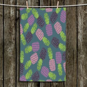 Unique Hanging Tea Towels | Metka Hiti - Fruit Pineapple | Nature food healthy pattern graphic