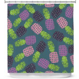 Premium Shower Curtains | Metka Hiti - Fruit Pineapple | Nature food healthy pattern graphic