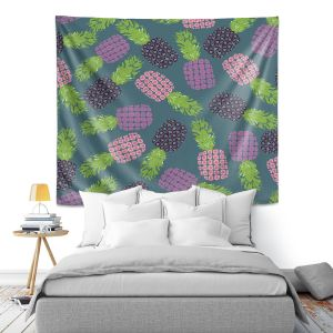 Artistic Wall Tapestry | Metka Hiti - Fruit Pineapple | Nature food healthy pattern graphic