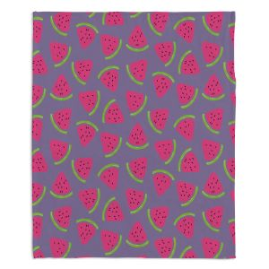 Decorative Fleece Throw Blankets | Metka Hiti - Fruit Watermelon | Nature food healthy pattern graphic
