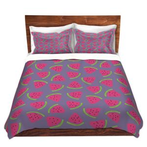 Artistic Duvet Covers and Shams Bedding | Metka Hiti - Fruit Watermelon | Nature food healthy pattern graphic