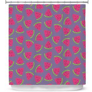 Premium Shower Curtains | Metka Hiti - Fruit Watermelon | Nature food healthy pattern graphic