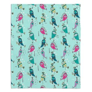 Decorative Fleece Throw Blankets | Metka Hiti - Funky Birds Turquoise