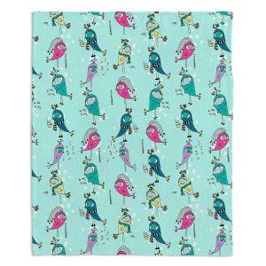 Decorative Fleece Throw Blankets | Metka Hiti - Funky Birds Turquoise