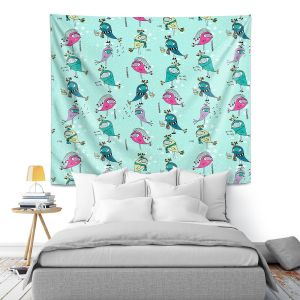 Artistic Wall Tapestry   Metka Hiti - Funky Birds Turquoise