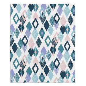 Artistic Sherpa Pile Blankets | Metka Hiti - Harlequin Blue | Pattern diamonds repetition graphic