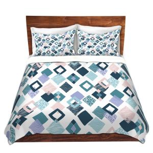 Artistic Duvet Covers and Shams Bedding | Metka Hiti - Harlequin Blue | Pattern diamonds repetition graphic