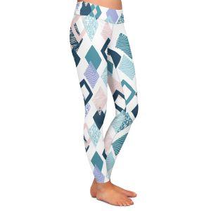 Casual Comfortable Leggings | Metka Hiti - Harlequin Blue | Pattern diamonds repetition graphic