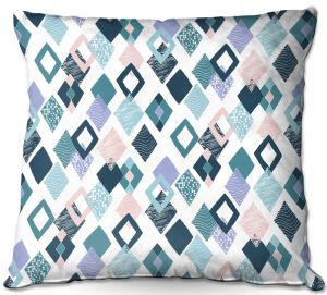 Throw Pillows Decorative Artistic | Metka Hiti - Harlequin Blue | Pattern diamonds repetition graphic