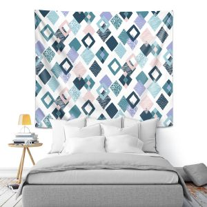 Artistic Wall Tapestry | Metka Hiti - Harlequin Blue | Pattern diamonds repetition graphic