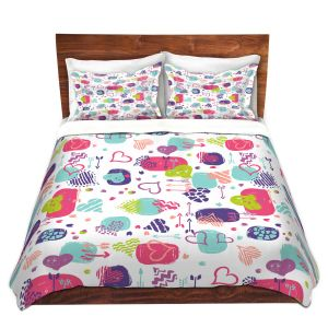 Artistic Duvet Covers and Shams Bedding | Metka Hiti - Hearts | Valentines Pattern