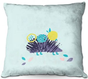 Throw Pillows Decorative Artistic | Metka Hiti - Hedgehog Blue | Nature critter animals children