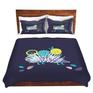 Artistic Duvet Covers and Shams Bedding | Metka Hiti - Hedgehog | Nature critter animals children