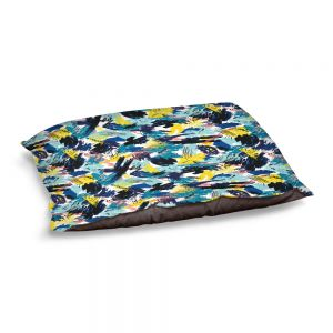 Decorative Dog Pet Beds | Metka Hiti - Impressionist Strokes Teal | Abstract Brushed Strokes