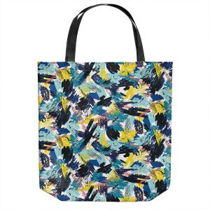 Unique Shoulder Bag Tote Bags | Metka Hiti - Impressionist Strokes Teal | Abstract Brushed Strokes