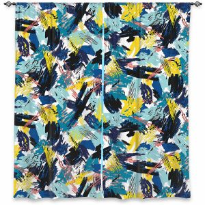 Decorative Window Treatments   Metka Hiti - Impressionist Strokes Teal   Abstract Brushed Strokes
