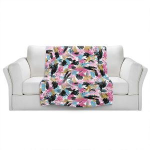 Artistic Sherpa Pile Blankets | Metka Hiti - Impressionist Strokes Pink | Abstract Brushed Strokes